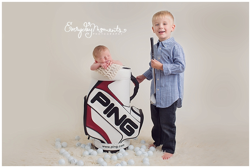 Lots of baby boys and big brothers in the studio lately loving all the blonde hair love the golf bag prop dad brought so unique and perfect for a